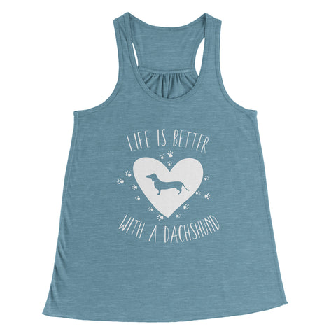 Life Is Better With A Dachshund Ladies Racerback Tank Top