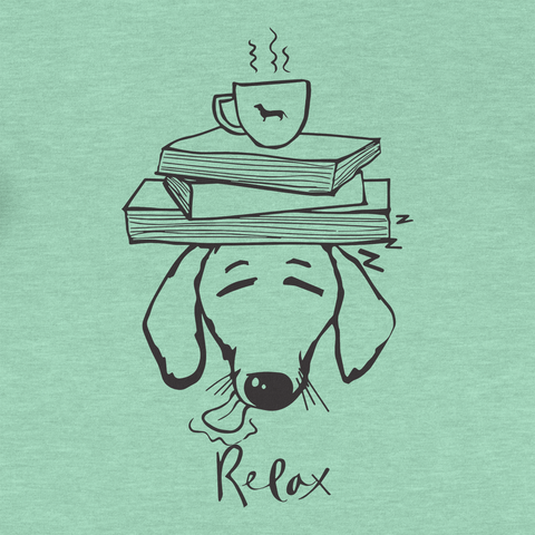 Dachshund Books and Coffee Triblend Ladies Racerback Tank