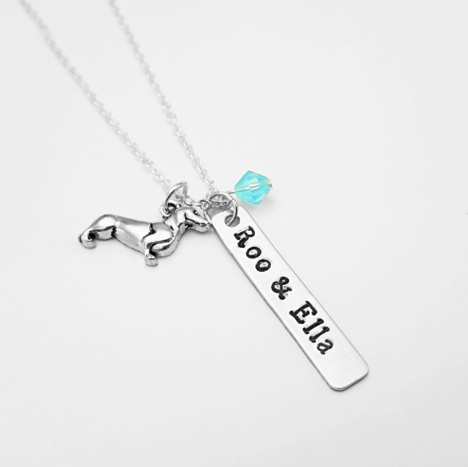 Personalized Dachshund Bar Necklace