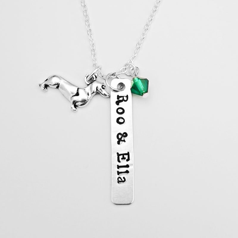 Shinefree Dachshund Necklace With Emerald Green Swarovski Crystal.