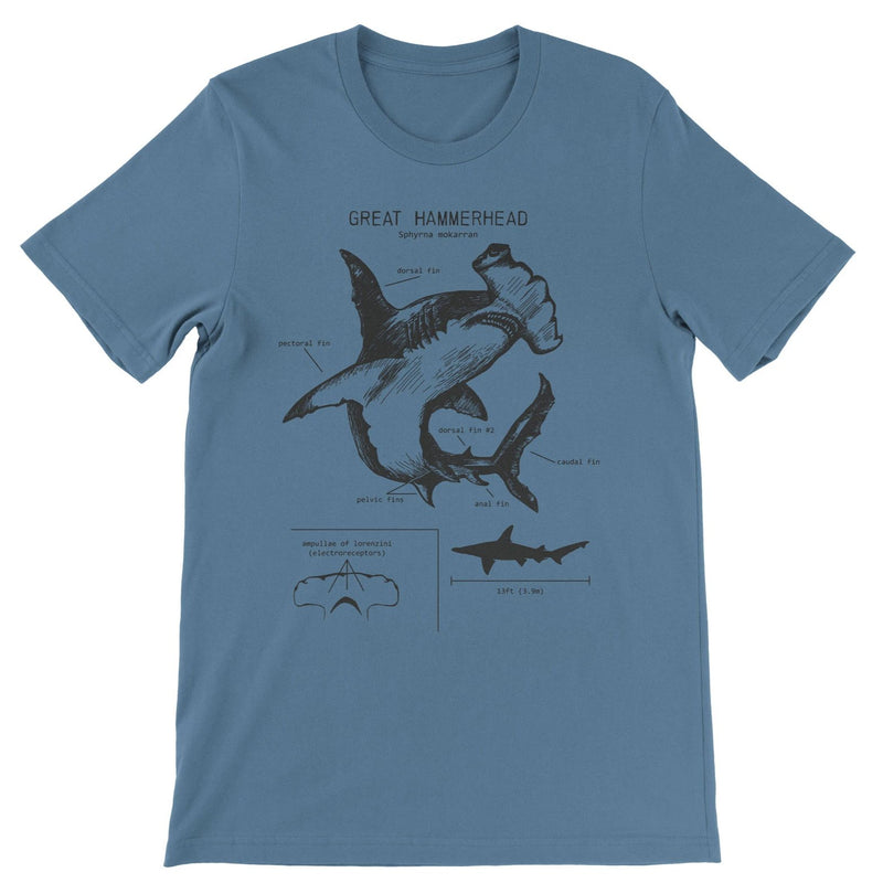Great Hammerhead Anatomy - t-shirt