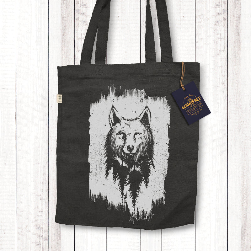 Northern Wolf - Hemp Canvas tote bag