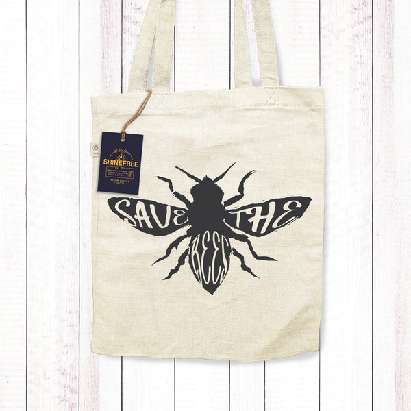 Save The Bees Hemp Canvas tote bag
