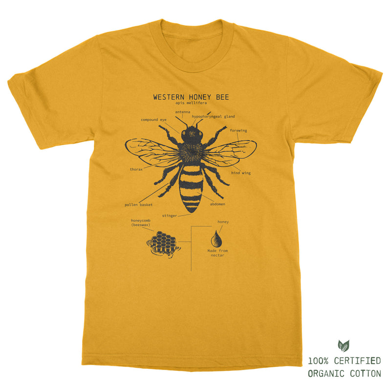 The Western Honey Bee Anatomy - 100% Organic Cotton t-shirt