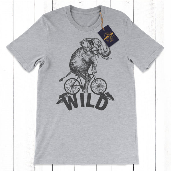 Wild Elephant Riding Bicycle tshirt