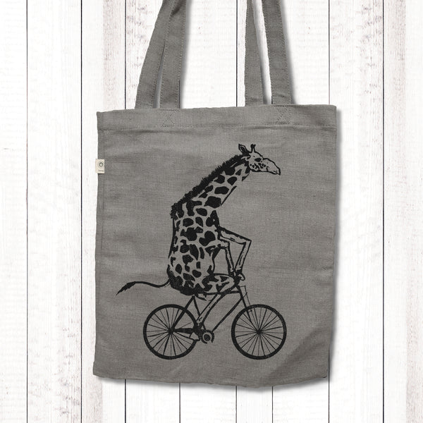 Wild Giraffe Riding Bicycle - Hemp tote bag