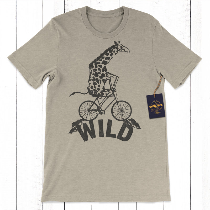 Wild Giraffe Riding Bicycle tshirt