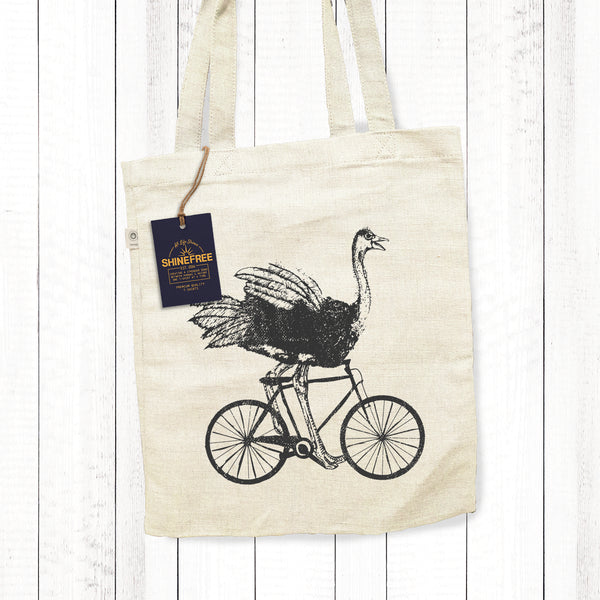 Wild Ostrich Riding Bicycle - Hemp Tote Bag