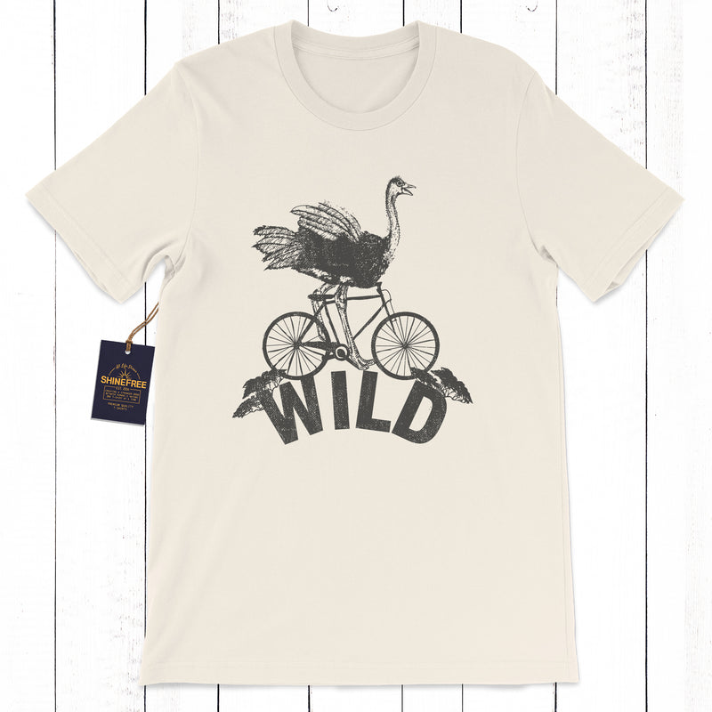 Wild African Ostrich Design printed on a Natural, off white, beige, cream 100% airlume cotton shirt. Design exclusive to Shinefree