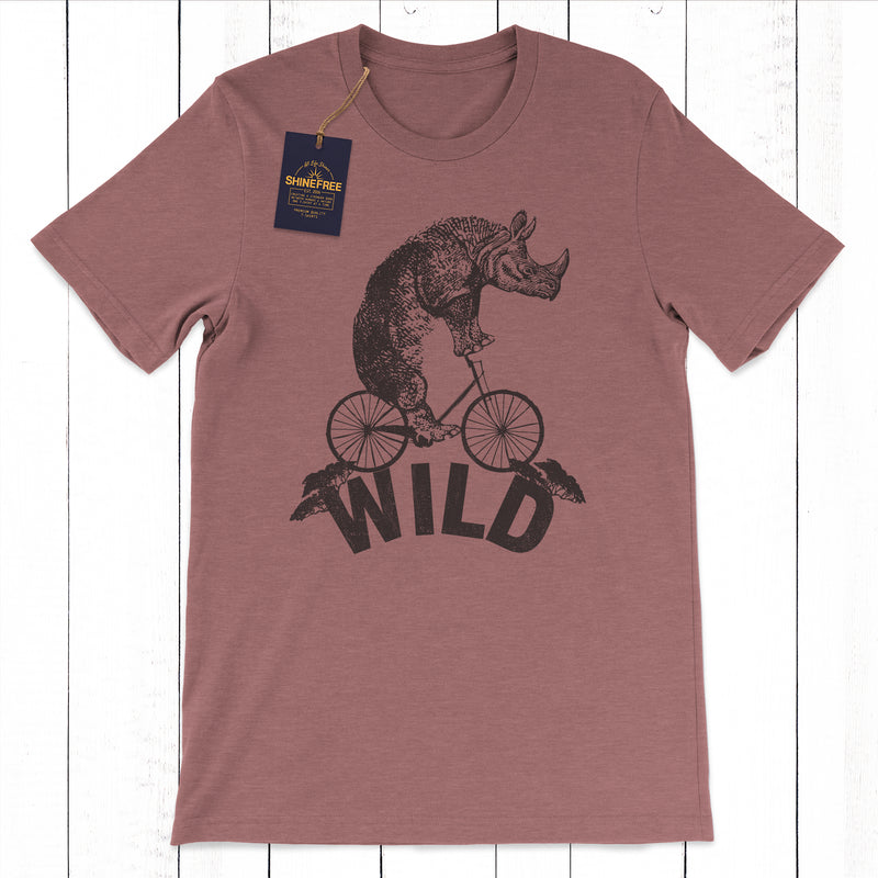 Wild Rhino Riding Bicycle tshirt