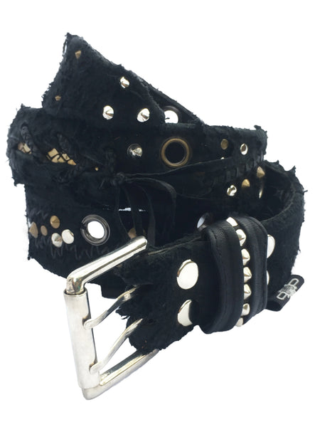 Belt - Distressed Scarification Rocker Belt - Black