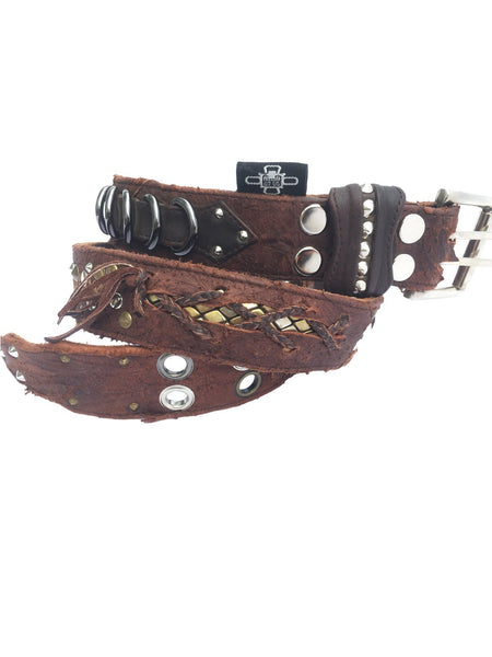 Belt - Distressed Scarification Rocker Belt - Brown