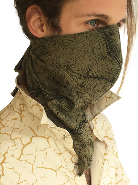 Dust Mask Contour Print - Earthy Mens Face Mask - Olive