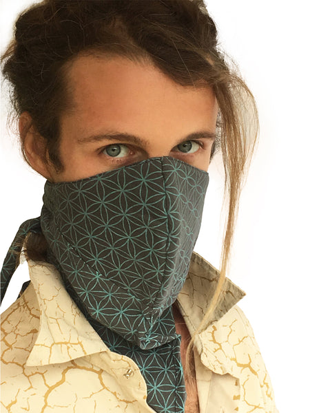Dust Mask Playa Print - Flower of Life - Blue