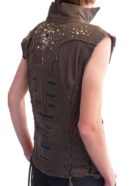 Mens Studded Canvas Vest - Brown