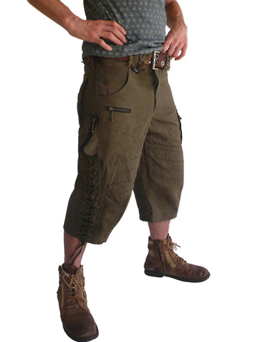 Mens Smoking Canvas Shorts - Green