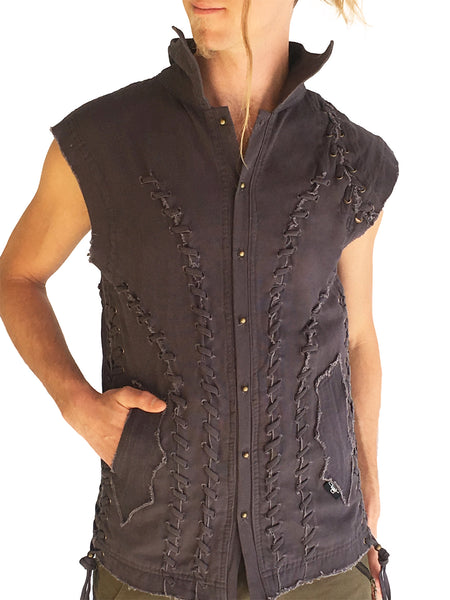 Mens Studded Canvas Vest - Grey