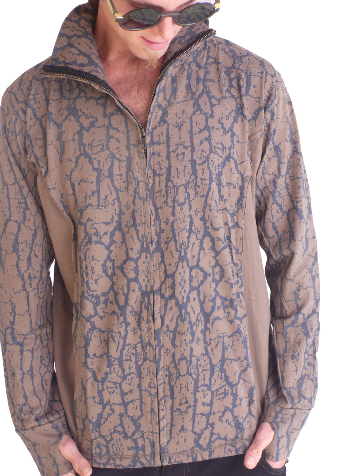 Mens Cotton Hoodie Tree Skin - Brown