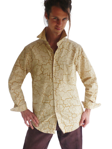 Mens Playa Dress Shirt - Sand/Gold