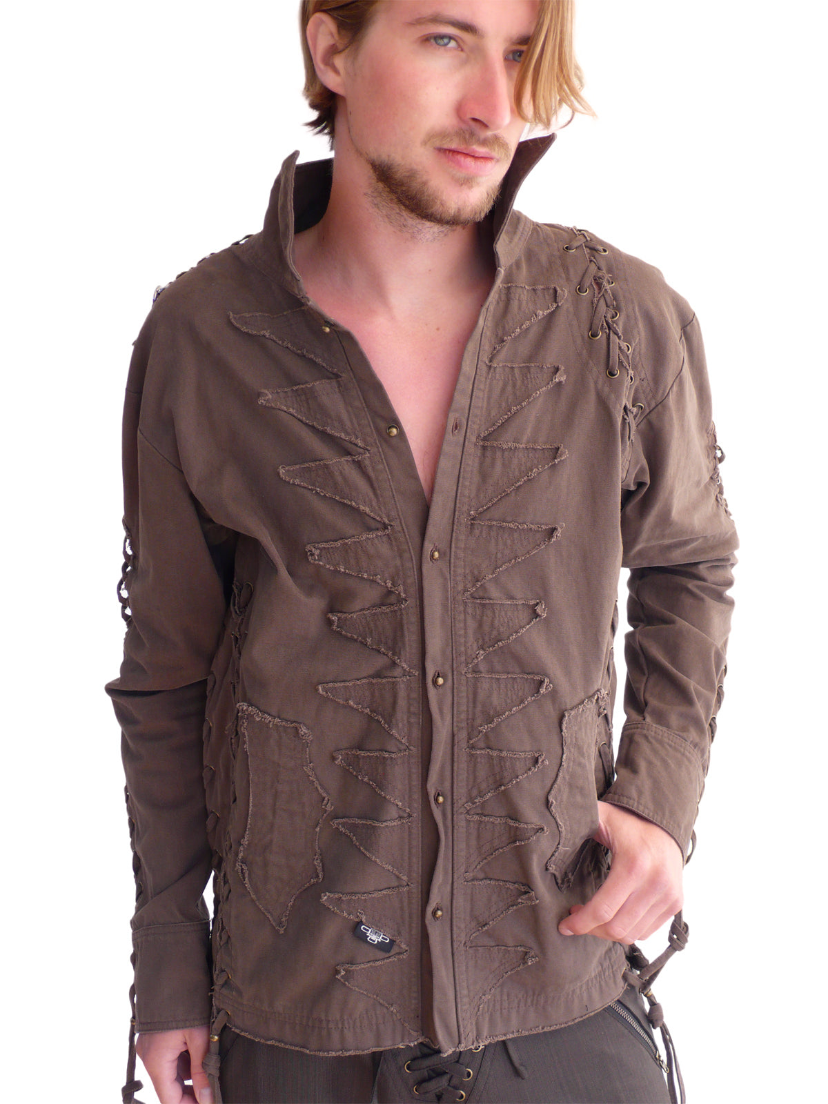 Mens Studded Rocker Jacket - Brown