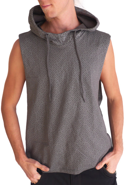Mens Sacred Geometry Sleeveless Cotton Hoodie