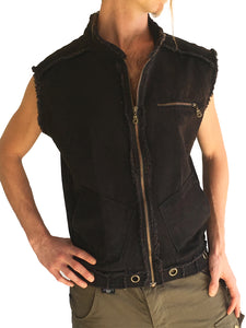Mens Streetwear Canvas Vest Stonewashed