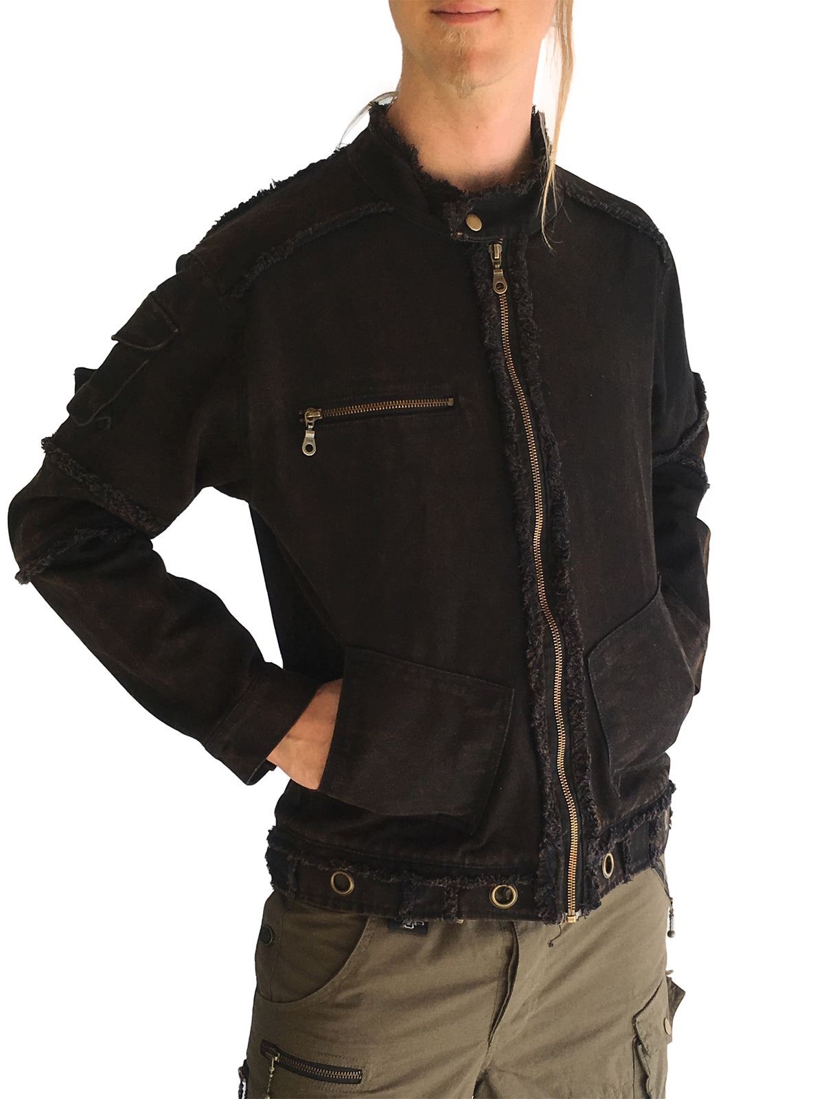 Mens Streetwear Canvas Jacket Stonewashed
