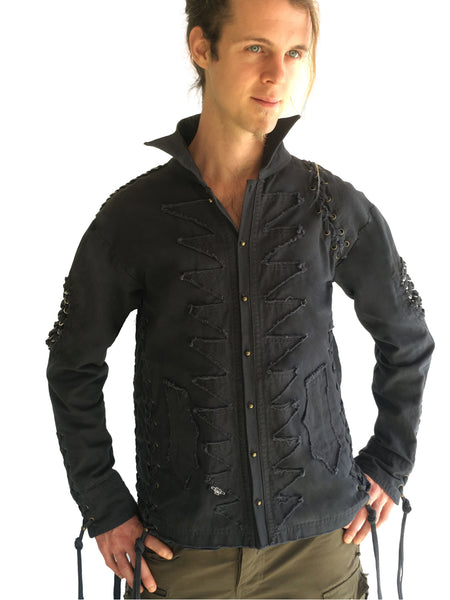 Mens Studded Rocker Jacket - Storm Blue
