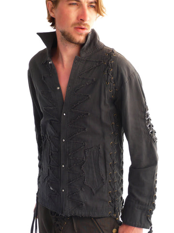 Mens Studded Rocker Jacket - Grey