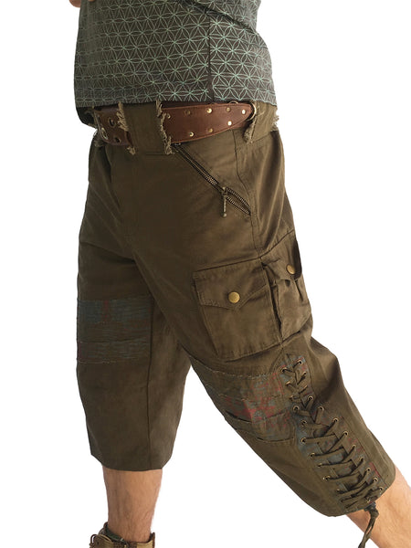 Mens Smoking Canvas Shorts - Green with Print