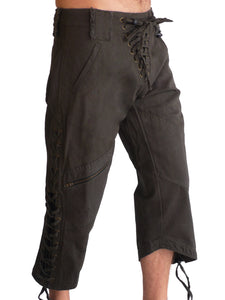 Mens Wild West Canvas Shorts - Grey