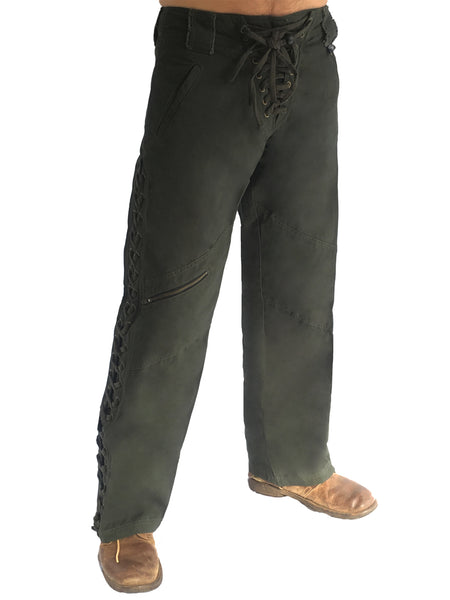 Mens Wild West Canvas Pants - Army Green