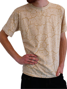 Mens Short Sleeve T-shirt - playa print - sand