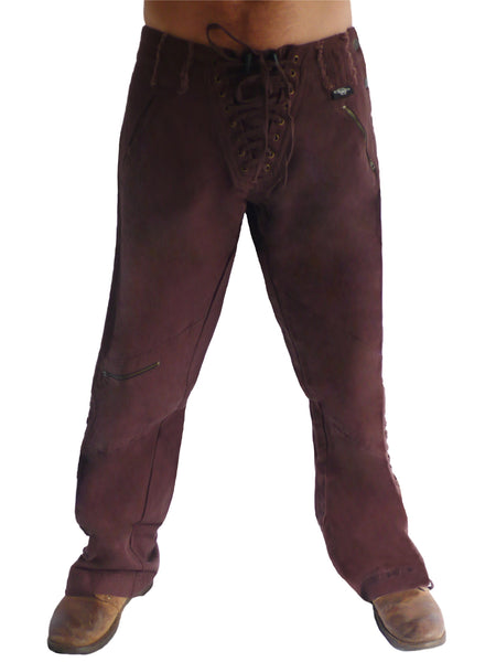 Mens Wild West Canvas Pants - Red/Brown