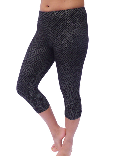 Womens Hindu Swastika Capri Leggings -Black/SIlver