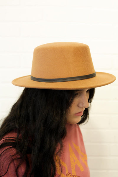 Wool Double Leather Ribbon Round Top Fedora