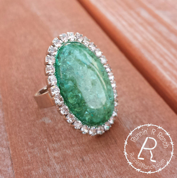 Green Stone/ Rhinestone Ring