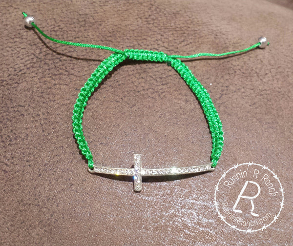 Green Sideways Cross Bracelet