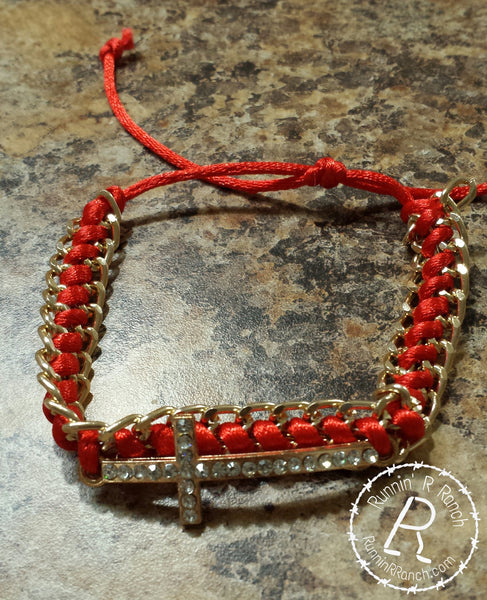 Red Gold Chain Link Sideways Cross Bracelet