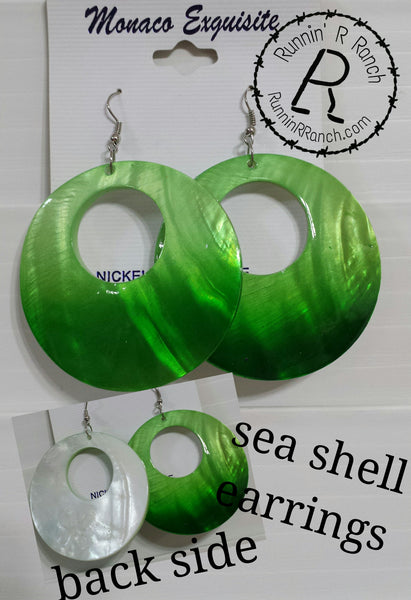 Green Oversized Seashell Earrings