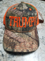 Trump 2020 Baseball Cap - Camo and Neon Orange
