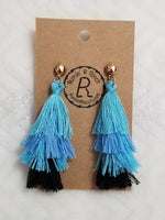 Tiered Tassel Earrings - Blues