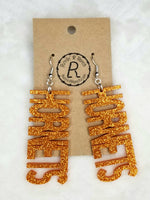 Orange Glitter Hornets Earrings