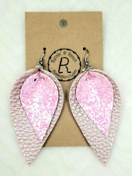 Pink and Rose Gold Leaf Earrings