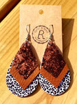 Triple Layer Earrings - Bronze, Brown, Leopard