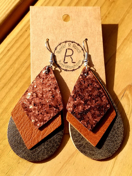 Triple Layer Earrings - Bronze, Brown, Olive