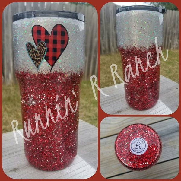 20 oz Silver and Red Glitter Tumbler with 2 Hearts