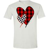 1281 Red and White Buffalo Plaid Hearts on Gildan Softstyle T-Shirt
