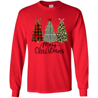 Merry Christmas Printed Christmas Trees Gildan Youth LS T-Shirt
