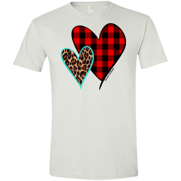 1298 Buffalo Plaid and Turquoise Leopard Hearts on Gildan Softstyle T-Shirt